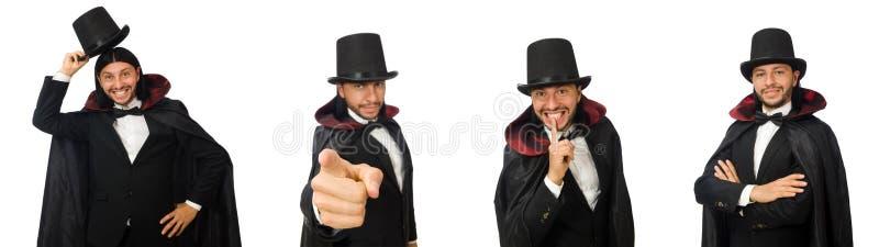 Mężczyzna magik odizolowywający na bielu zdjęcie royalty free