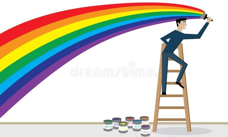 Mężczyzna maluje tęczę. ilustracja wektor