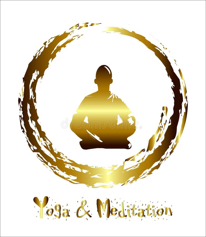 Mężczyzna medytuje złocistego abstrakcjonistycznego tło, joga promień promień Buddyjska medytacja, Hinduska medytacja wektor ilustracja wektor
