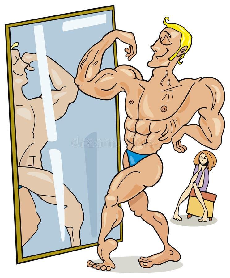 mężczyzna mięśniowy lustrzany ilustracji