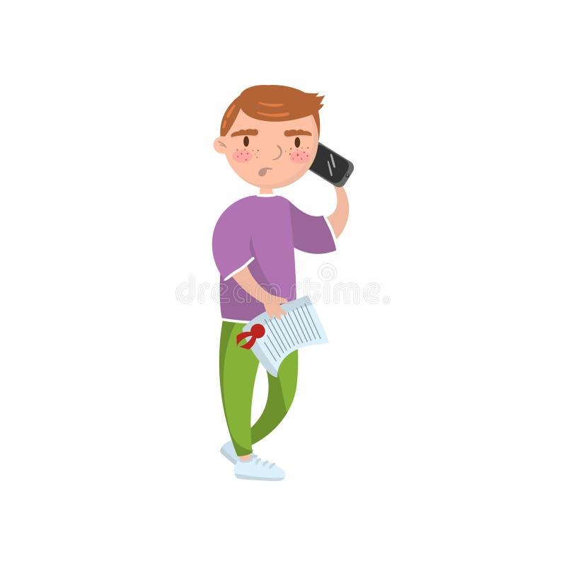Mężczyzna mienia asekuracyjny dokument i opowiadać telefonem, ubezpieczenie samochodu kreskówki wektoru ilustracja ilustracji