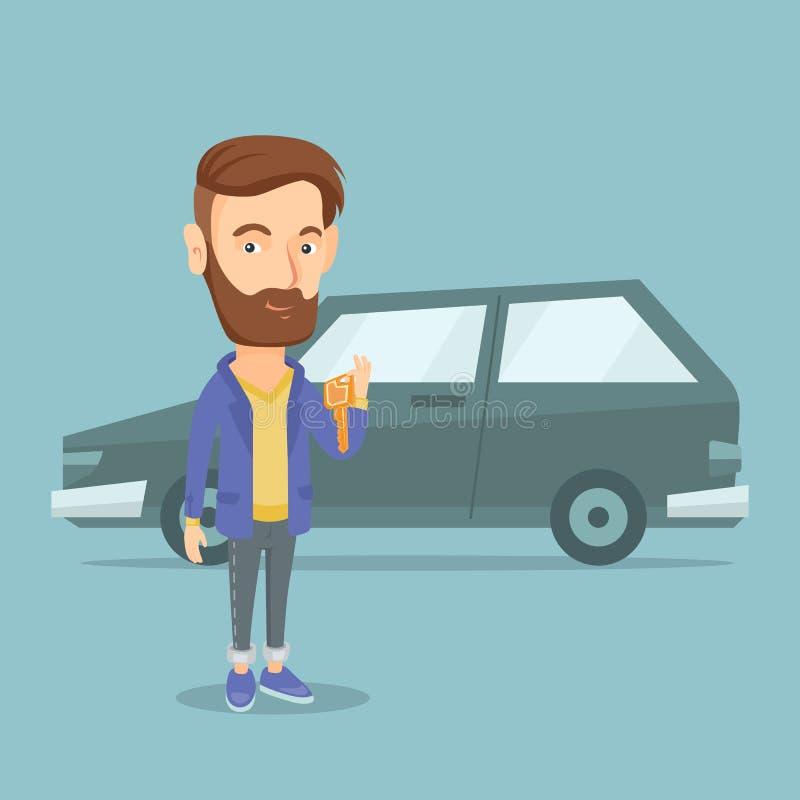 Mężczyzna mienia klucze jego nowy samochód ilustracja wektor