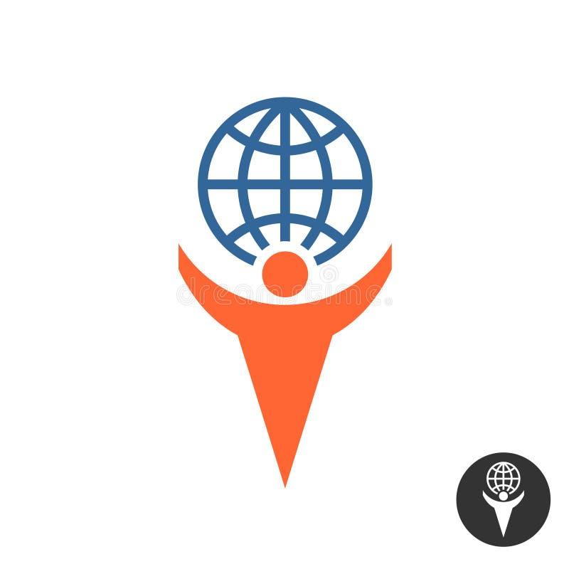 Mężczyzna mienia kuli ziemskiej logo ilustracja wektor