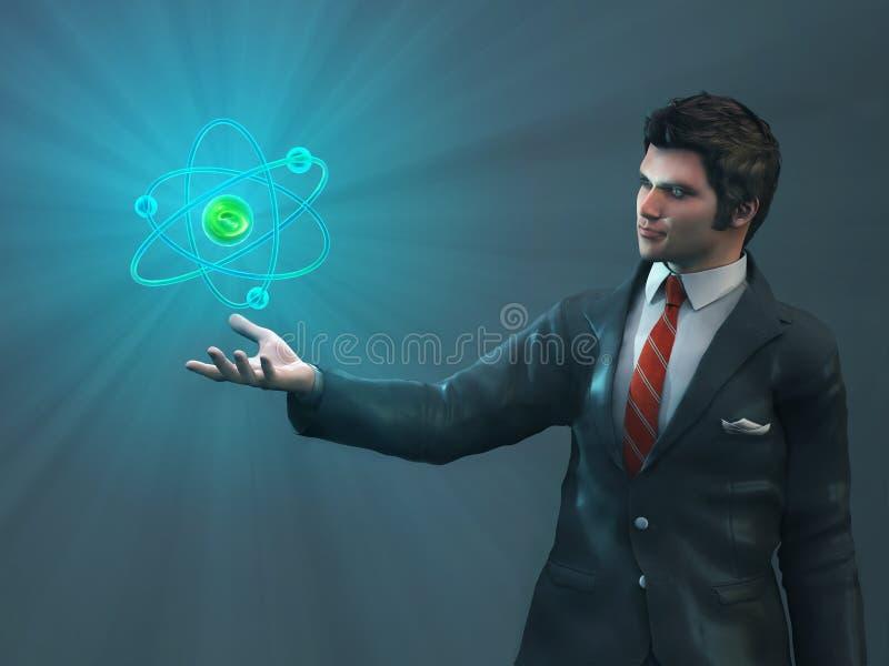Mężczyzna mienia rozjarzony atom royalty ilustracja