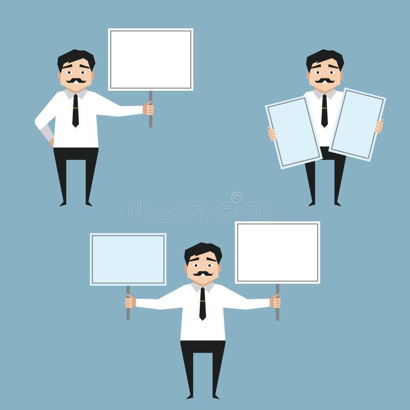 Mężczyzna mienia whiteboard ilustracji