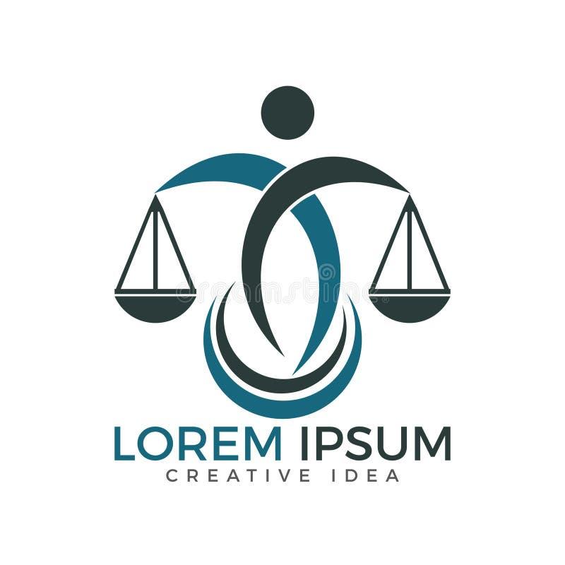 Mężczyzna mienie Waży sprawiedliwość logo Prawa i adwokata loga projekt royalty ilustracja