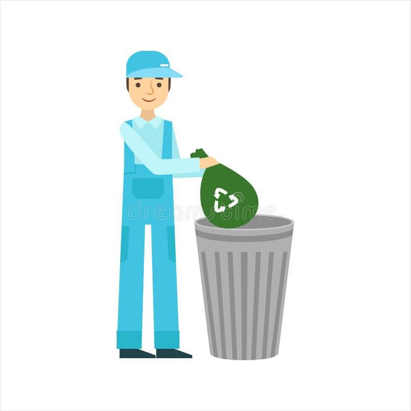 Mężczyzna miotania śmieci Wewnątrz Przetwarza kosz, Cleaning Usługowy Fachowy Cleaner W Jednolitym Cleaning W gospodarstwie domow royalty ilustracja