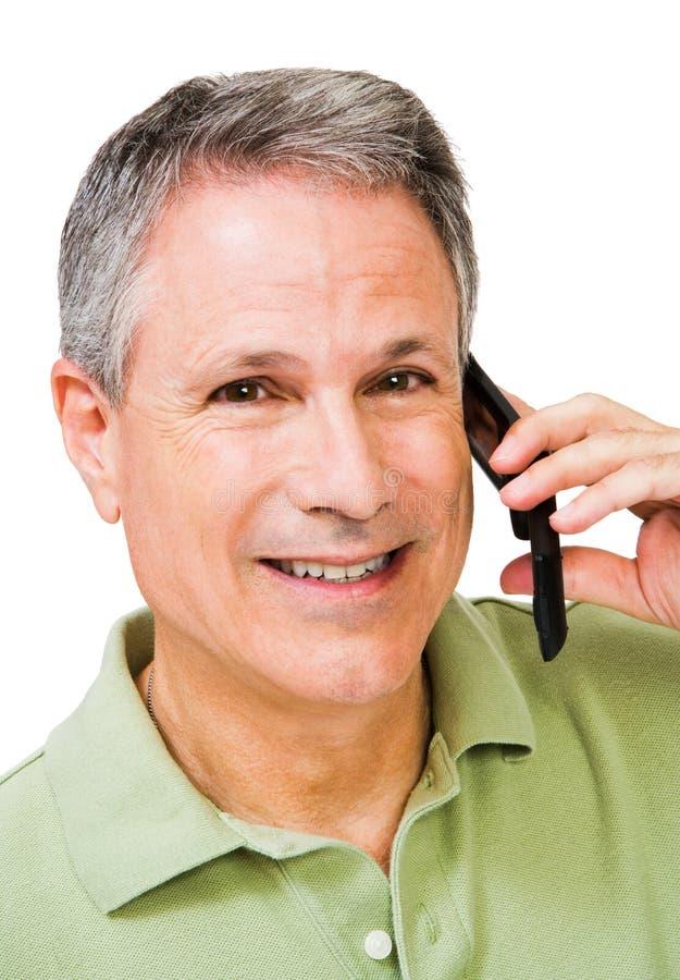 mężczyzna mobilny uśmiecha się opowiadać zdjęcia royalty free