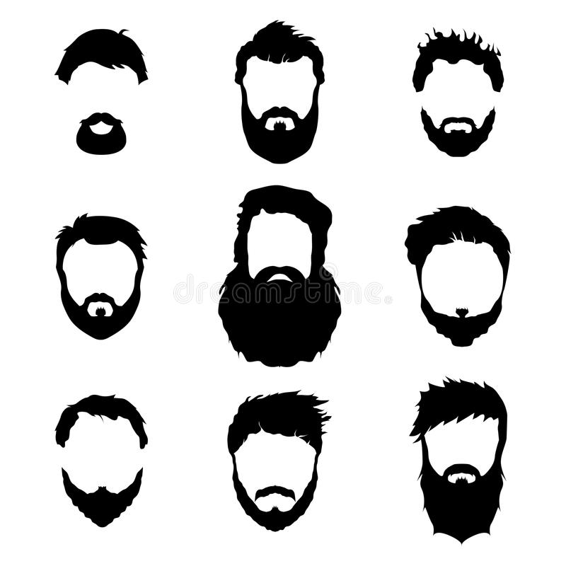Mężczyzna moda, sylwetka, styl, set brody, wektorowa ilustracja ilustracja wektor