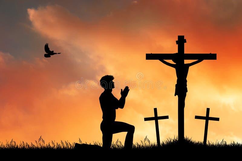 Mężczyzna modlitwa na krzyżu royalty ilustracja
