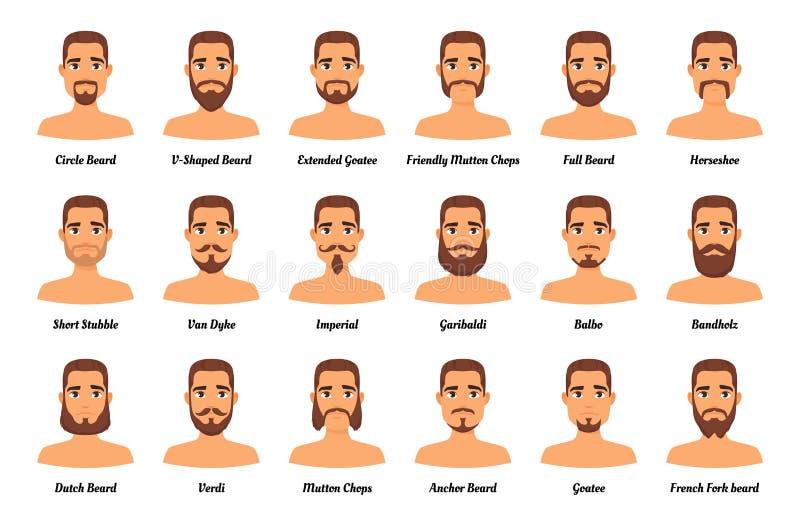 Mężczyzna mody wąsy i brody ilustracja wektor