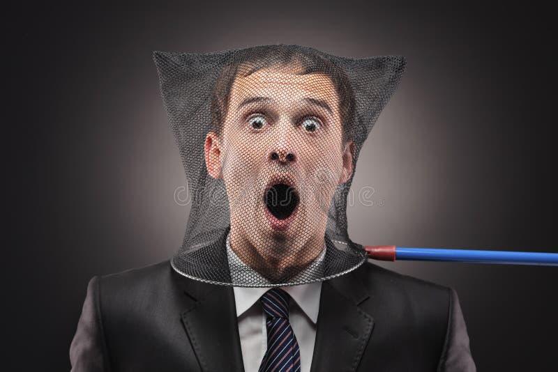 mężczyzna motylia sieć łapać w pułapkę obraz stock