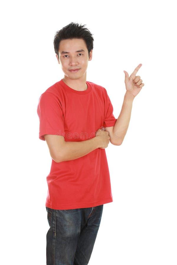 Mężczyzna myśl pomysł z koszulką zdjęcia stock