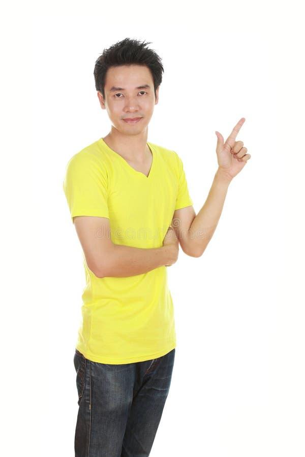 Mężczyzna myśl pomysł z koszulką fotografia stock