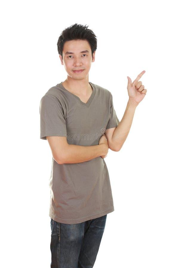 Mężczyzna myśl pomysł z koszulką zdjęcia royalty free