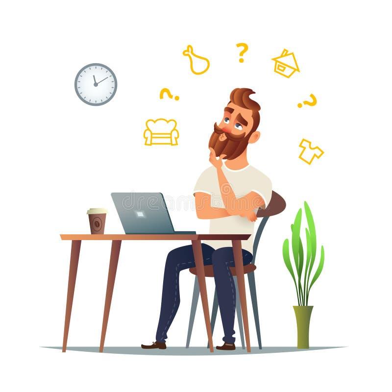 Mężczyzna myśleć o czym sprzedawać w jego online sklepie Różna nisza tak jak odzież, nieruchomość, jedzenie lub meble, ilustracji
