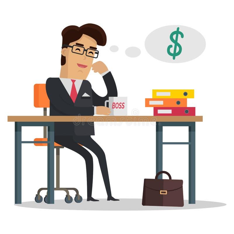 Mężczyzna myśleć o pieniądze royalty ilustracja