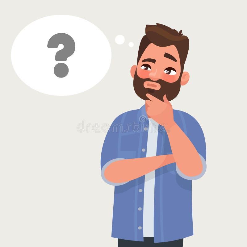 Mężczyzna myśleć oceny pytanie Wektorowa ilustracja w kreskówce s ilustracja wektor