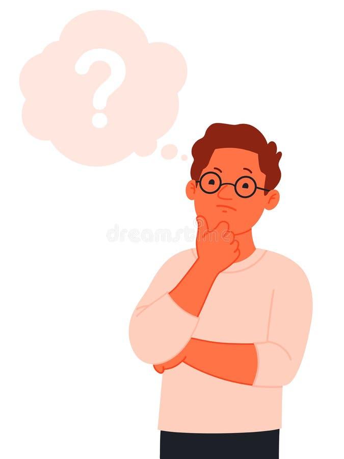 Mężczyzna myśleć Rozwiązanie problem Pojęcie znajdować prawą ścieżkę ilustracji