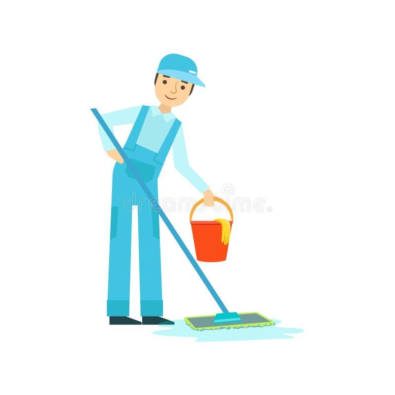 Mężczyzna Myje podłoga Z kwaczem I wiadro, Czyści Usługowy Fachowy Cleaner W Jednolitym Cleaning W gospodarstwie domowym ilustracji