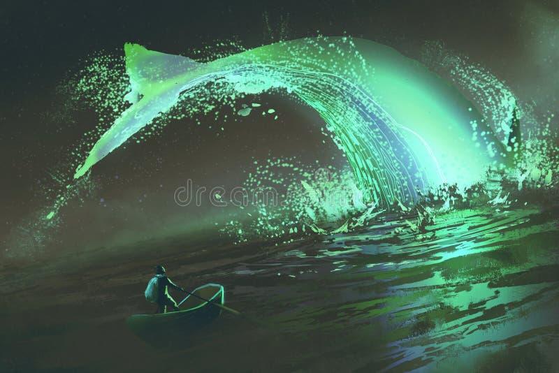 Mężczyzna na łódkowatym patrzejący skokowego rozjarzonego zielonego wieloryba w morzu royalty ilustracja