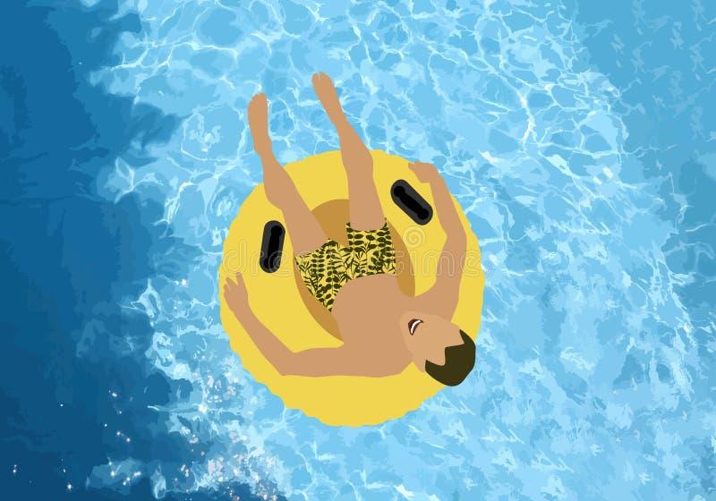 Mężczyzna na żółtym tubingu w basenie Lato rozrywka Wodnego basenu tekstura również zwrócić corel ilustracji wektora ilustracja wektor