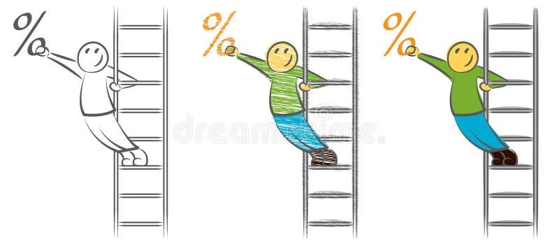Mężczyzna na drabin próbach dostawać procent Biznesmen na schodki podnosić premię poj?cia prowadzenia domu posiadanie klucza z?ot royalty ilustracja