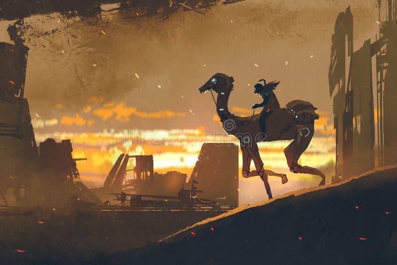 Mężczyzna na futurystycznym wielbłądzim bieg w apocalypse mieście royalty ilustracja
