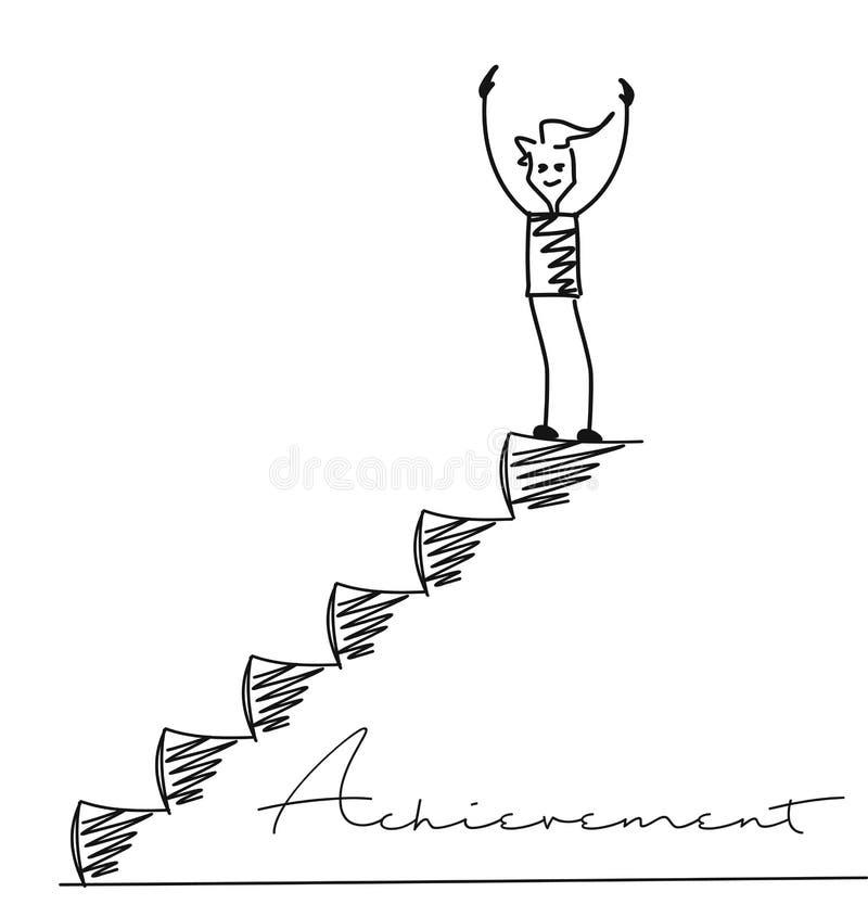 Mężczyzna na górze schodków ilustracji