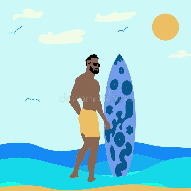 Mężczyzna na piaskowatej plaży z surfboard Odpoczynek na morzu, wektorowa ilustracja royalty ilustracja