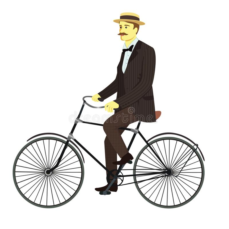 Mężczyzna na retro rocznika dżentelmenu starym rowerowym wektorze ilustracji