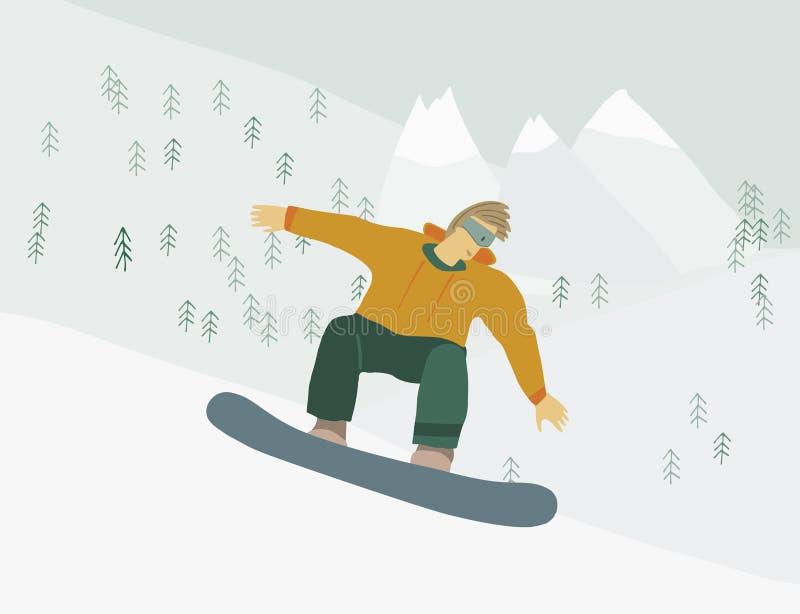 Mężczyzna na snowboard w zbocze góry Ludzkiej postaci w ruchu ilustracji