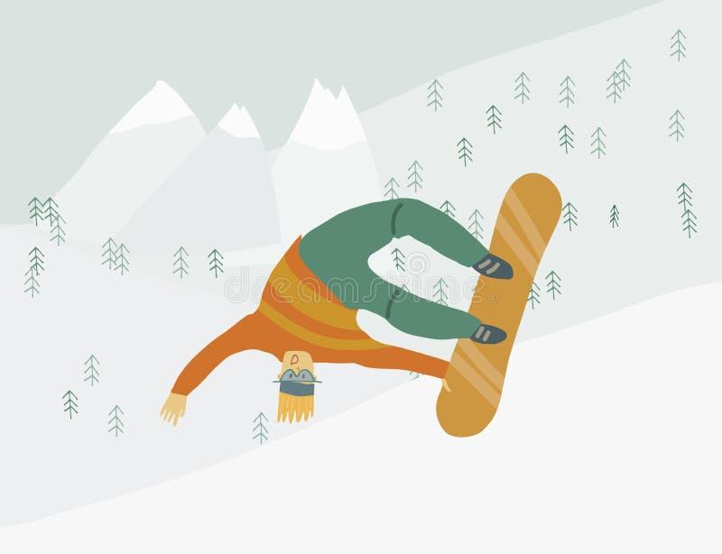 Mężczyzna na snowboard w zbocze góry Ludzkiej postaci w ruchu royalty ilustracja