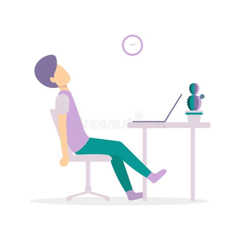 Mężczyzna na stole męczącym z laptopem ilustracja wektor