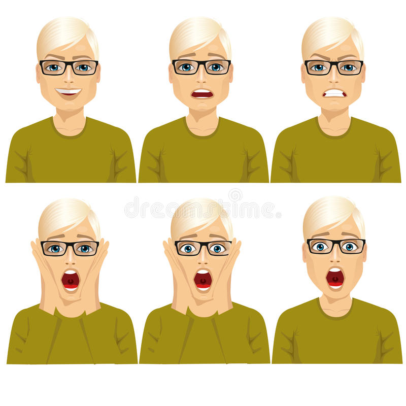 Mężczyzna na sześć różnych twarzy wyrażeniach ustawiających royalty ilustracja