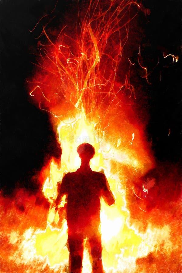 Mężczyzna na tła lata ogniska przyjęciu Aquarell komputeru kolaż ilustracji