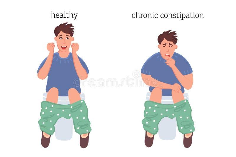 Mężczyzna na toalecie pojęciu patologia zaparcie i hemoroidach przed i po chorobą, Wektorowe grafika disea royalty ilustracja
