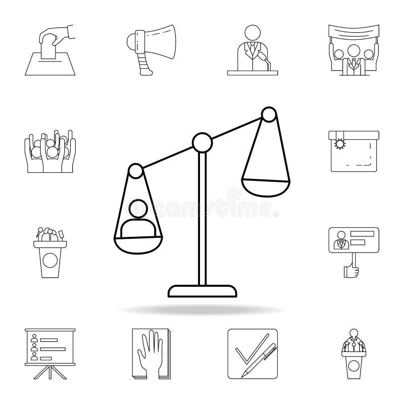mężczyzna na waży ikonę Szczegółowy konturu set wybory elementu ikony Premia graficzny projekt Jeden inkasowe ikony dla royalty ilustracja