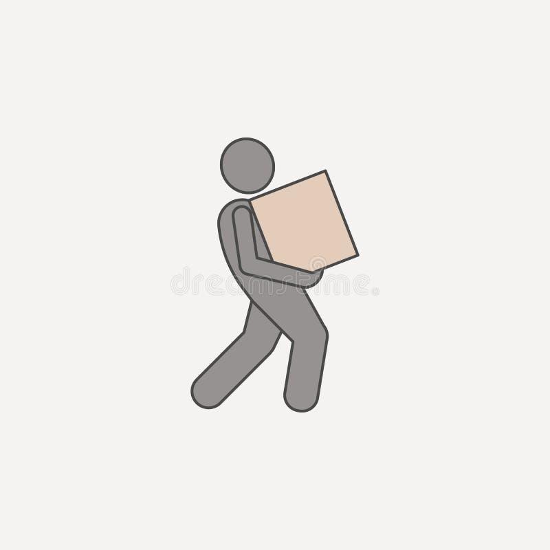mężczyzna należnie niesie pudełka 2 barwiącą kreskową ikonę Prosta barwiona element ilustracja mężczyzna należnie niesie pudełkow ilustracji