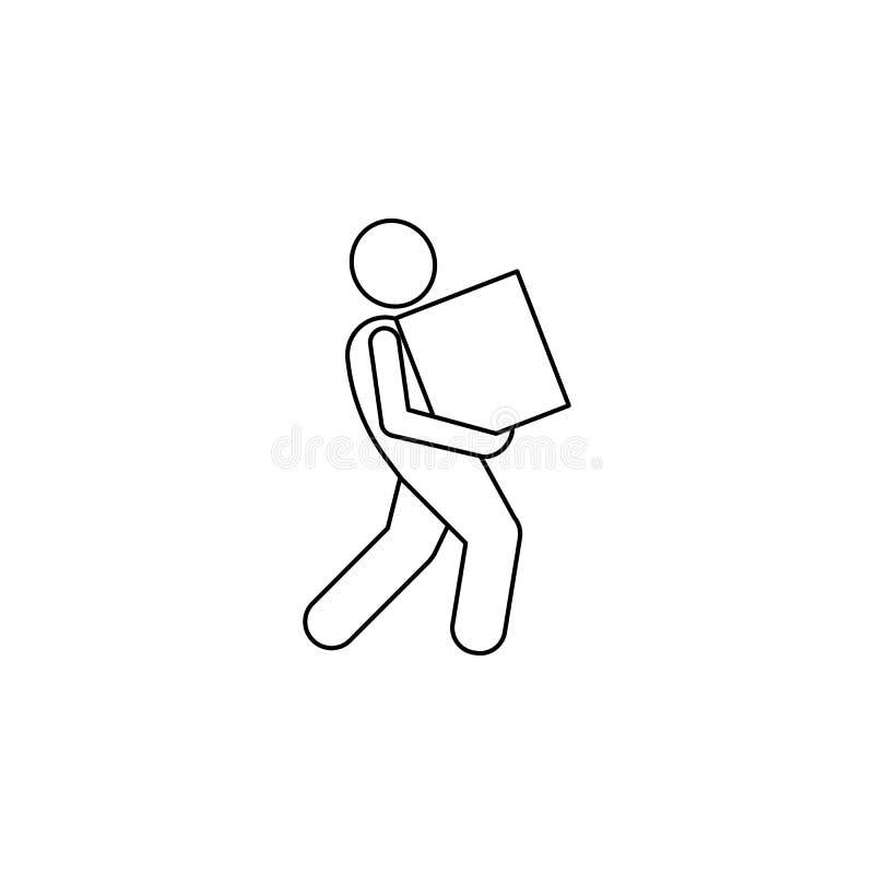 mężczyzna należnie niesie pudełkowatą ikonę Element mężczyzna niesie pudełkowatą ilustrację Premii ilości graficznego projekta ik ilustracji