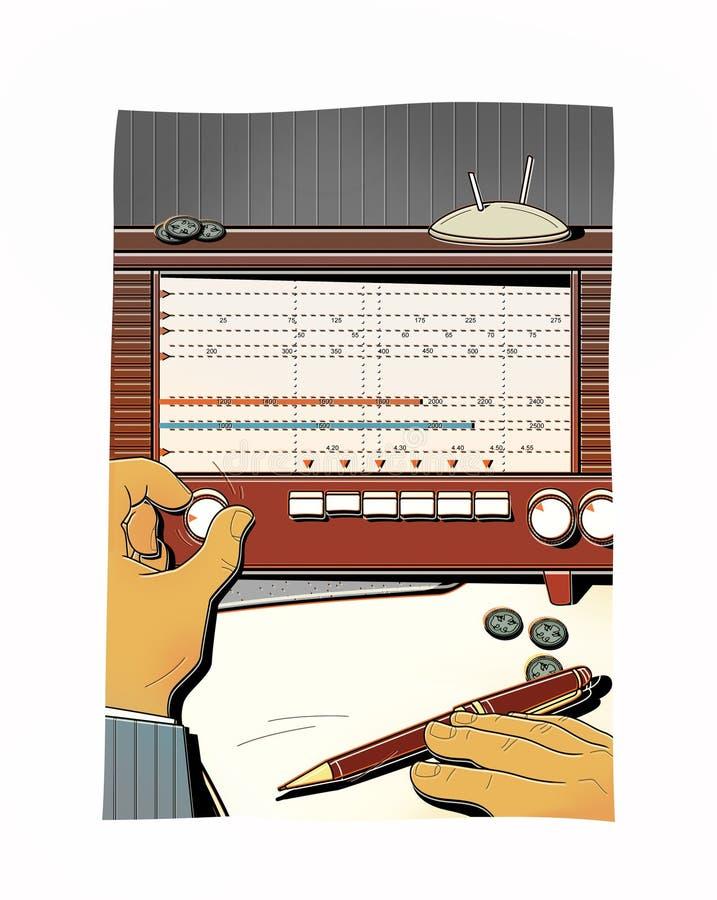 Mężczyzna nastraja starego radio, łapie radiową falę Przekaz klasyfikująca informacja analiza pieniężna interwał royalty ilustracja