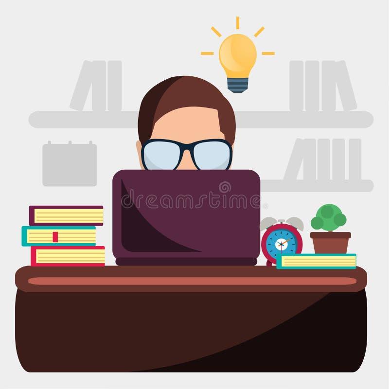 Mężczyzna nauka dla egzaminu wektoru ilustracji ilustracja wektor