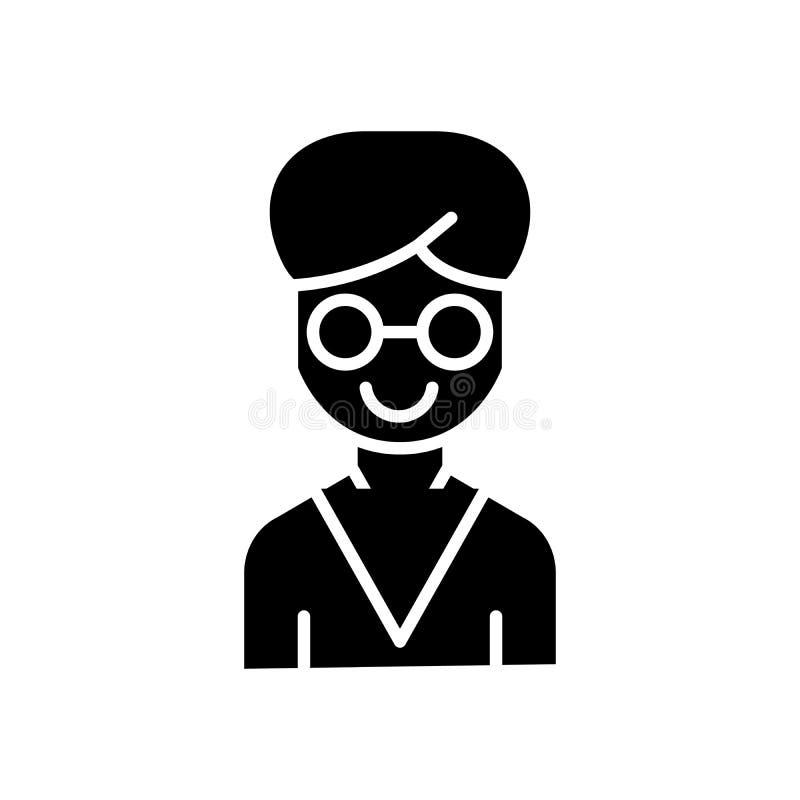Mężczyzna naukowa czerni ikony pojęcie Obsługuje naukowa płaskiego wektorowego symbol, znak, ilustracja royalty ilustracja