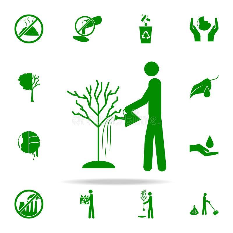 mężczyzna nawadnia drzewną zieloną ikonę greenpeace ikon ogólnoludzki ustawiający dla sieci i wiszącej ozdoby ilustracja wektor