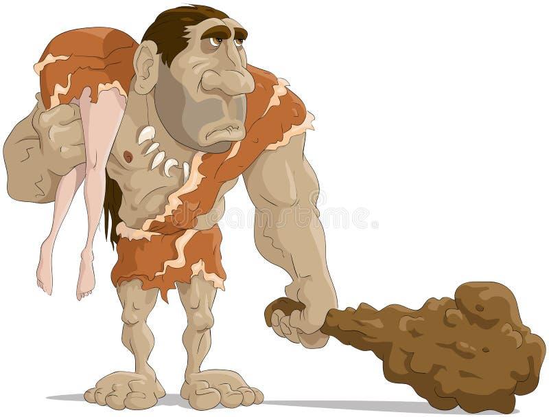 mężczyzna neanderthal royalty ilustracja