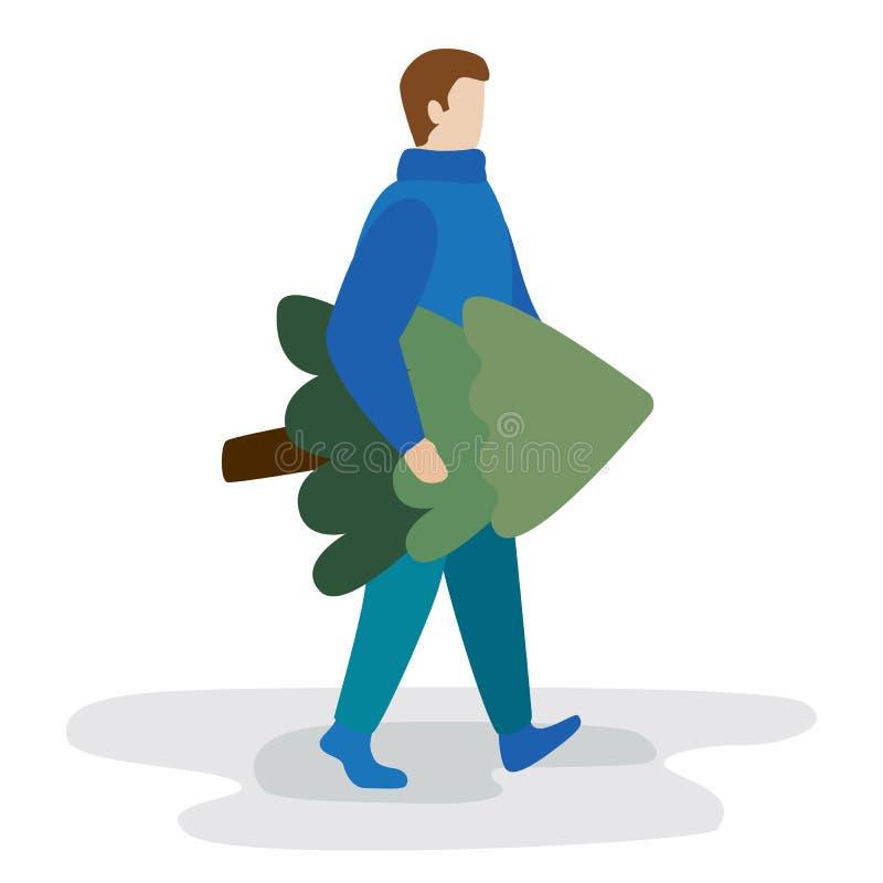 Mężczyzna niesie choinki Płaska nowożytna wektorowa ilustracja ilustracja wektor