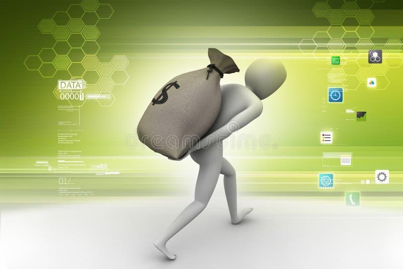 Mężczyzna niesie dolarową torbę royalty ilustracja