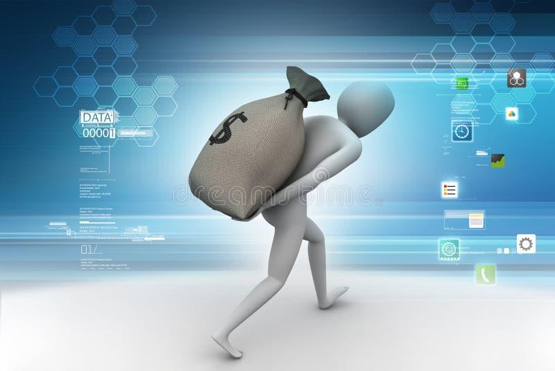 Mężczyzna niesie dolarową torbę ilustracji