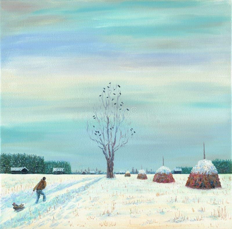 Mężczyzna niesie dziecka na saniu na wiejskiej drodze Zima ilustracja wektor