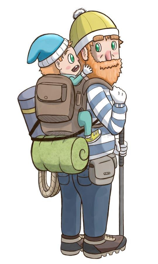 Mężczyzna niesie dziecka w plecaku royalty ilustracja